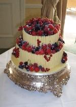 Stacked Chocolate Curl and Fruit Wedding Cake  Ref CW008