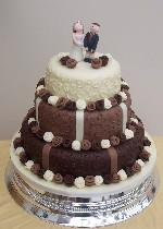 Chocolate and Fabric Roses Wedding Cake  Ref CW001
