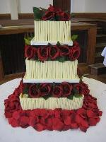 3 Tier Chocolate cake with roses and petals CW039