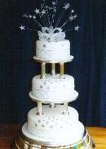 Silver Stars Wedding Cake Ref IC722