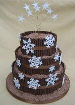 Chocolate Snowflake Wedding Cake Ref CC027