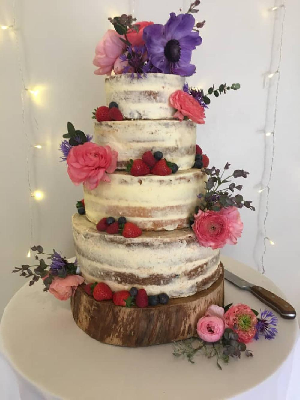 Semi Naked Cake with colourful flowers